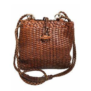 Vtg 90s Leather Basket Weave Handbag Brown Toggle